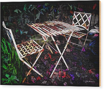 Table And Chairs Wood Print by Joan  Minchak