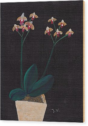 Table Orchid Wood Print by M Valeriano