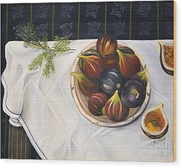 Table With Figs Wood Print by Carol Sweetwood