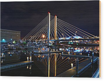 Tacoma Hwy 509 Bridge Up In Lights 1 Wood Print