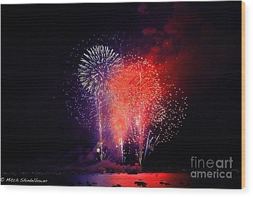 Wood Print featuring the photograph Tahoe Fireworks. by Mitch Shindelbower