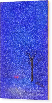 Tail Lights In A Snow Storm Wood Print by Lila Fisher-Wenzel