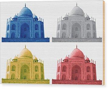 Taj Mahal Colorful Style Wood Print by Atthamee Ni