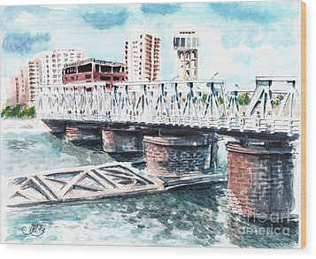 Talkha Bridge Wood Print by Muna Abdurrahman
