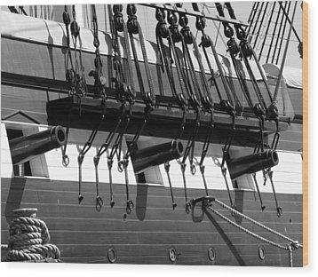 Wood Print featuring the photograph Tall Ship Canons Black And White by Darleen Stry