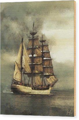 Tall Ship Wood Print by Marcin and Dawid Witukiewicz