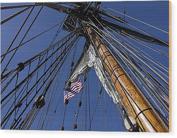 Tall Ship Rigging Wood Print by Garry Gay
