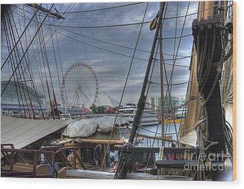 Tall Ships At Navy Pier Wood Print by David Bearden