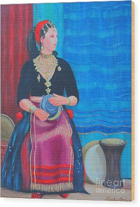 Wood Print featuring the painting Tambourine Lady by Nareeta Martin