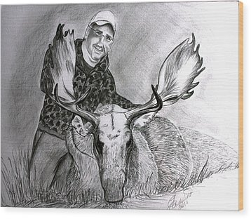 Tamed Moose Wood Print by Carolyn Ardolino