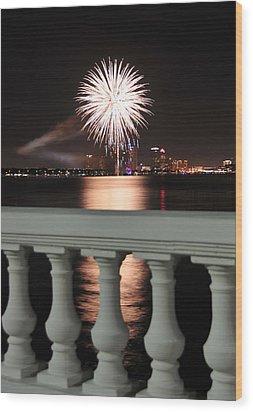 Tampa Bay Fireworks Wood Print by David Lee Thompson