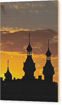 Wood Print featuring the photograph Tampa Bay Hotel Minarets At Sundown by Ed Gleichman
