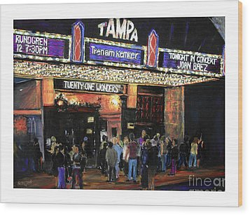 Tampa Theatre Night Lights Wood Print by Barry Rothstein