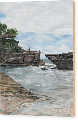 Wood Print featuring the painting Tanah Lot Temple II Bali Indonesia by Melly Terpening