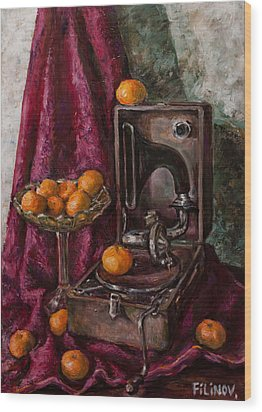 Tangerines Wood Print by Boris Filinov
