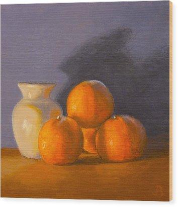 Wood Print featuring the painting Tangerines by Joe Bergholm