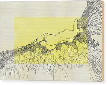 Wood Print featuring the painting Tangled by Nadine Dennis