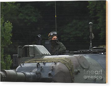 Tank Commander Of A Leopard 1a5 Mbt Wood Print by Luc De Jaeger