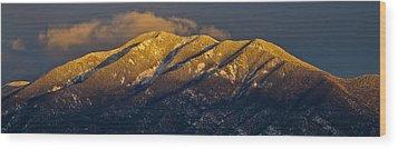 Taos Mountain Wood Print by Atom Crawford