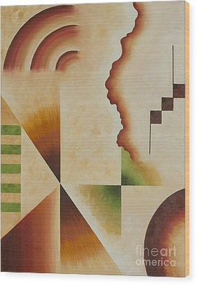 Wood Print featuring the painting Taos Series- Architectural Journey I by Arthaven Studios
