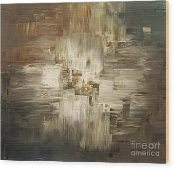 Wood Print featuring the painting Tar And Tailings by Tatiana Iliina