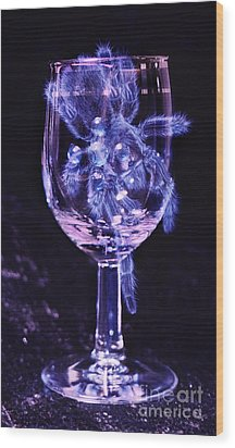 Tarantula On Wine Goblet Wood Print by Janeen Wassink Searles