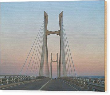 Tarascon-beaucaire Bridge At Dusk Wood Print by Michael Grabois