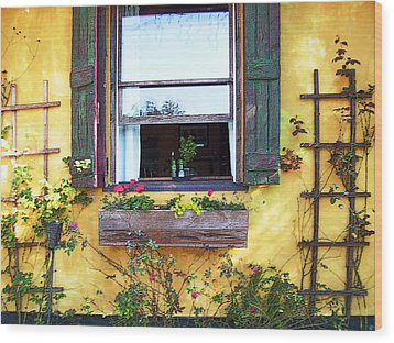 Wood Print featuring the photograph Tavern Window by Ginny Schmidt