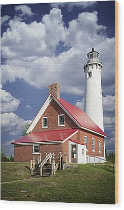 Tawas Point Lighthouse In Michigan Number 0007 Wood Print by Randall Nyhof