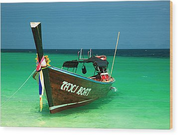 Taxi Boat Wood Print by Adrian Evans