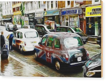 Taxi Please Wood Print by Steve K
