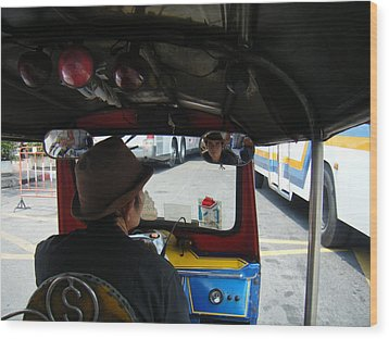 Taxi Ride Through Bangkok Wood Print
