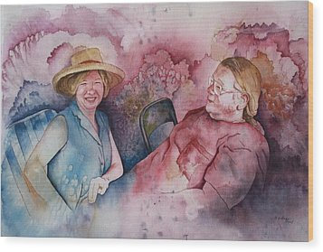 Wood Print featuring the painting Taylor And Chuck At The Picnic by Patsy Sharpe
