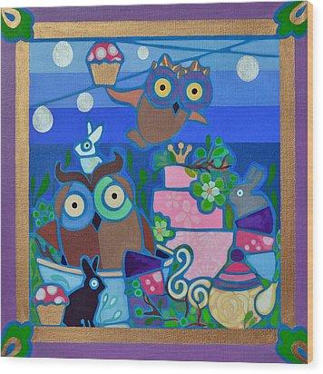 Tea And Cupcakes Wood Print by Jenny Valdez