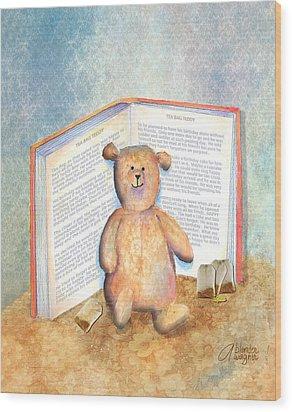 Tea Bag Teddy Wood Print by Arline Wagner