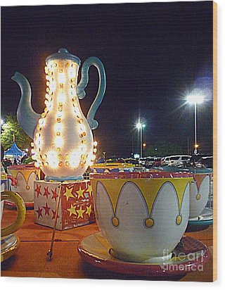 Wood Print featuring the photograph Tea Pot And Cups Ride by Renee Trenholm