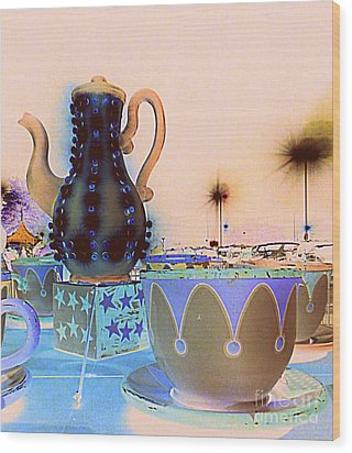 Wood Print featuring the photograph Tea Pot And Cups Ride With Inverted Colors by Renee Trenholm