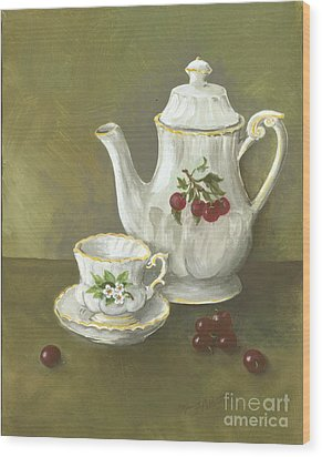 Wood Print featuring the painting Tea With Cherries  by Nancy Patterson