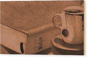 Tea With Jesus Wood Print by Shannon Redmon