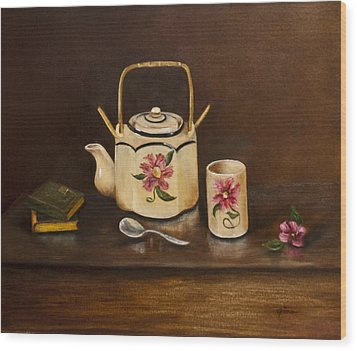 Tea With Mom And Grandma Wood Print by Gina Cordova
