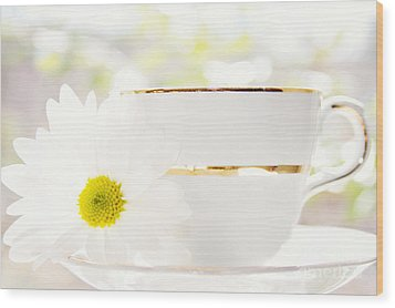 Teacup Filled With Sunshine Wood Print by Kim Fearheiley