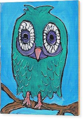 Teal Hooter 1 Wood Print by Wayne Potrafka