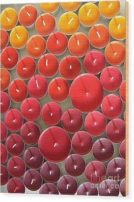Tealights Wood Print by Karin Ubeleis-Jones
