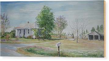 Wood Print featuring the painting Teals Mill Country Home by Gloria Turner