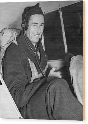 Ted Williams In Navys Flight Training Wood Print by Everett
