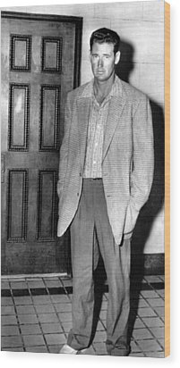 Ted Williams Outside A Miami Court Room Wood Print by Everett