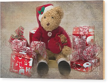 Teddy At Christmas Wood Print by Louise Heusinkveld
