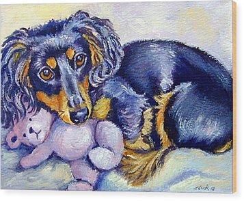 Teddy Cuddles - Dachshund Wood Print by Lyn Cook