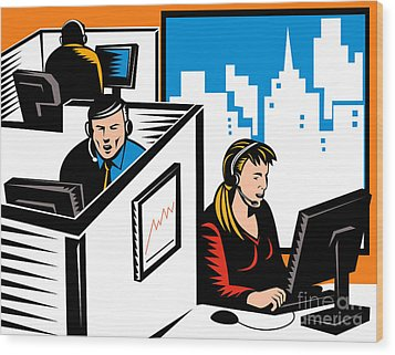 Telemarketer Office Worker Retro Wood Print by Aloysius Patrimonio
