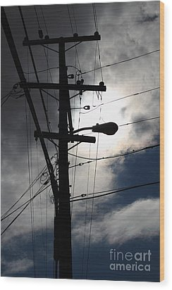 Telephone And Electric Wires And Pole In Abstract Silhouette . 7d13651 Wood Print by Wingsdomain Art and Photography